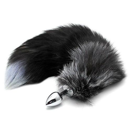 Wild Lust *Анальная пробка металлическая диаметр 40 мм с черным лисьим хвостом, BF40black/black
