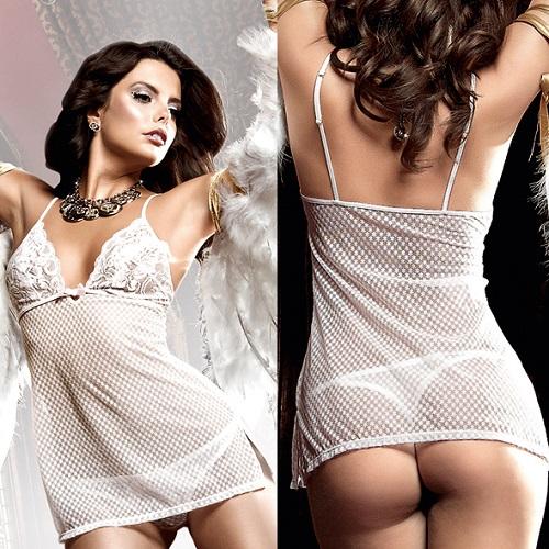 Платьице белое из тюлевой ткани Back in Heaven с нежными узорами и кружевным бюстье BL787