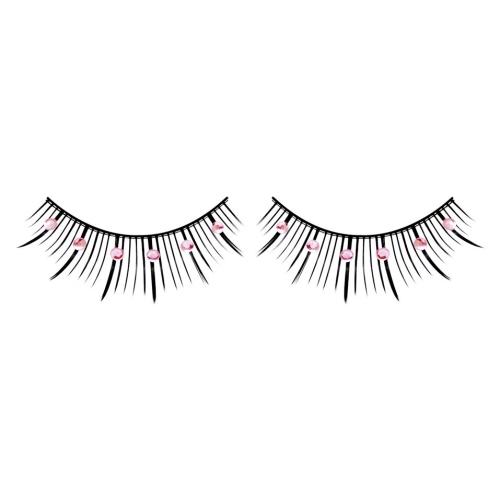 -Baci Lingerie Lashes Collection Ресницы чёрные с розовыми  стразами, BL486