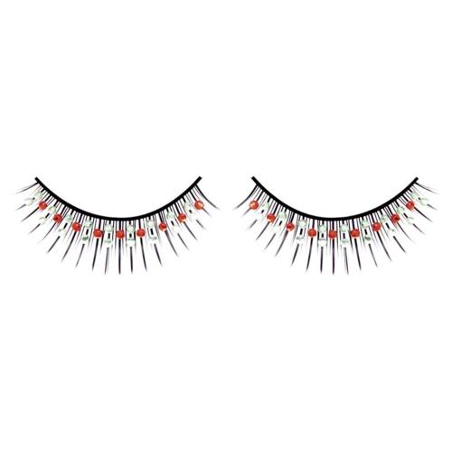 -Baci Lingerie Lashes Collection Ресницы чёрные с красными и серебрянными стразами, BL507