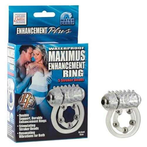 California Exotic Novelties Эрекционное вибро-кольцо Waterproof Maximus Enhancement Ring  с 5-ю металлическими шариками se-1456-10-3
