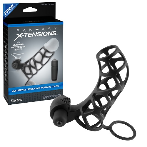 -Pipedream Насадка стимулирующая Extreme Silicone Power Cage с кольцом на мошонку черная с вибрацией pd4143-23