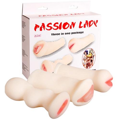 Liaoyang Baile Health Care Product Co. *Набор из 3-х мастурбаторов (вагина, ротик и анус) с вибрацией,BM-009170