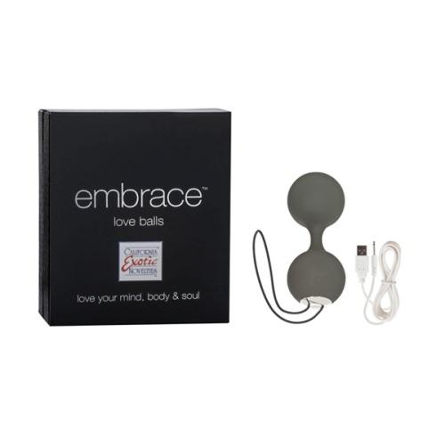 Вагинальные вибро-шарики перезаряжаемые Embrace Love Balls силиконовые серые, SE-4604-10