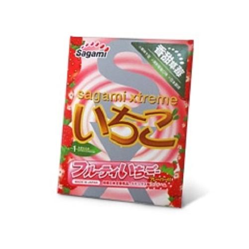 Sagami, Япония Презервативы Sagami Xtreme Strawberry 1S с ароматом клубники 1шт., 00-00000048