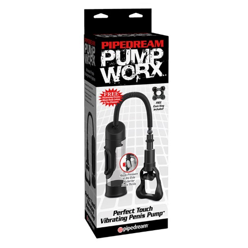-Pipedream Вакуумная помпа с автоматическим насосом, Pump Worx Perfect Touch Vibrating Penis Pump - Black, PD3298-23