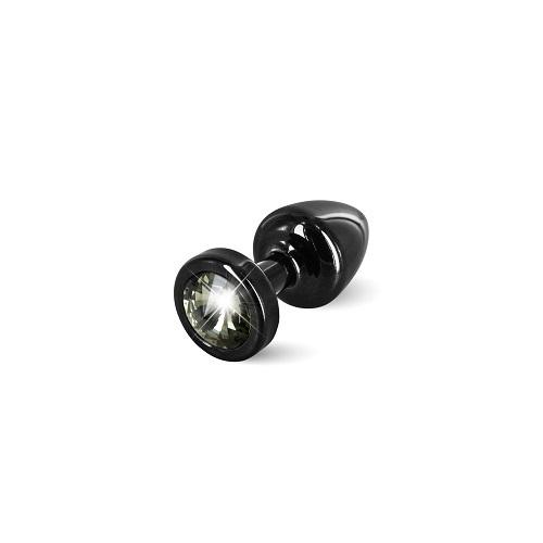 Diogol Анальная пробка (черная, черный кристалл) диам.2,5 см ANNI round black T1-Black Diamond , 9020060072
