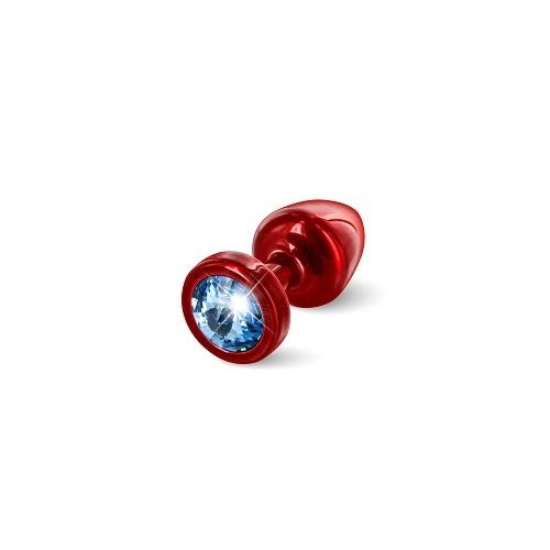 Diogol Анальная пробка (красная, голубой кристалл) диам.2,5 см ANNI round Red T1-Blue  , 9020060077