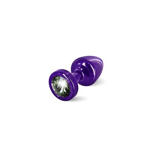 Diogol Анальная пробка (фиолетов, черный кристалл) диам.2,5 см ANNI round Purple T1-Black Diam , 9020060078