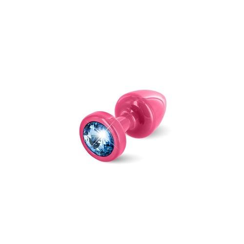 Diogol Анальная пробка (розовая, голубой кристалл) 9020060083