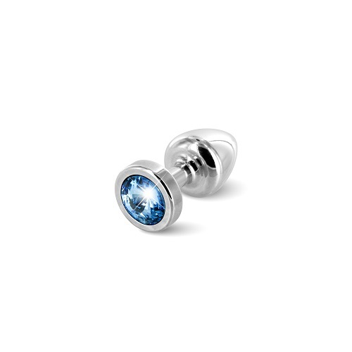 Diogol Анальная пробка ANNI round Silver T1-Blue (серебро, голубой кристалл) 9020060086