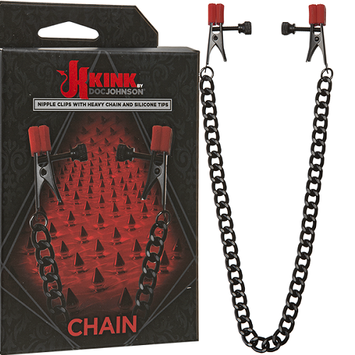 Doc Johnson, США Зажимы на соски  Kink - Chain - Nipple Clips with Heavy Chain and Silicone Tips 2404-05 BX DJ