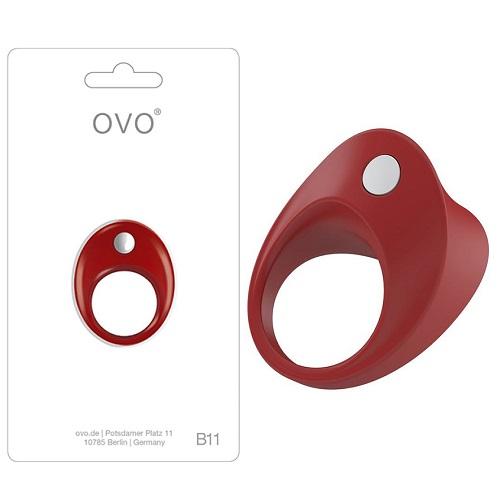 Эрекционное Вибро-кольцо OVO B11 VIBRATING RING RED, OVOB119246