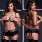 Комплект Wild Lace Demi Cup Bra Garter Set 3 Pc, BL3107-BLK